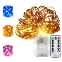 ER CHEN 66Ft 200 LED String Lights, Battery Operated Copper Wire Color Changing Christmas Fairy Lights with 8 Modes Remote Control Timer for Bedroom, Patio, Wedding and Party (Warm White & Blue)