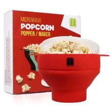 MUGOOLER Microwave Popcorn Popper Silicone Popcorn Maker Collapsible Bowl BPA Free (Red)