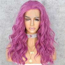 """Sapphirewigs Purple Heat Resistant Hair 20"""" Natural Wave Type Hand Tied Perruque Synthetic Lace Front Wig For Wedding Party"""