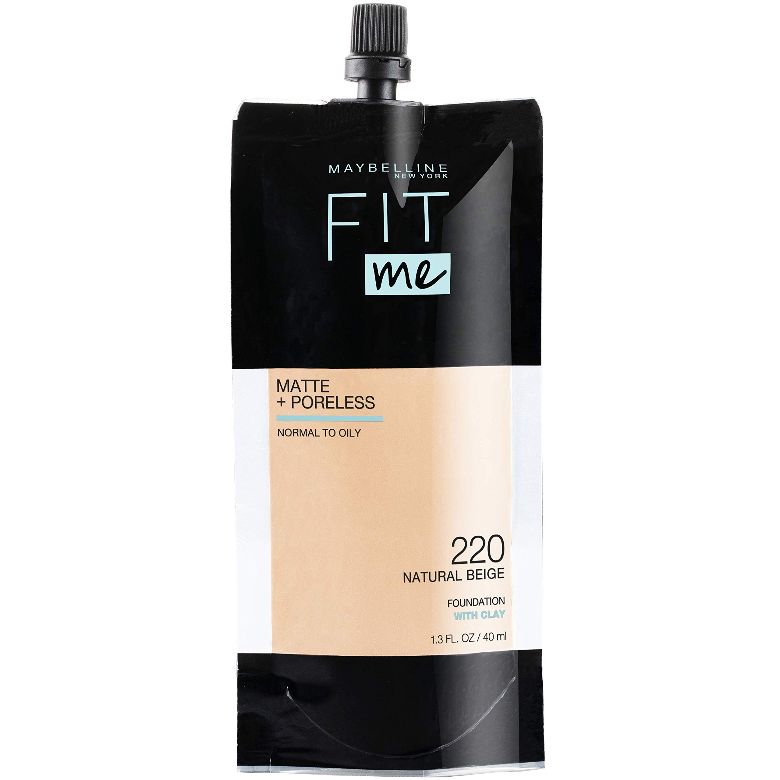 Maybelline Fit Me Matte + Poreless Liquid Foundation, Face Makeup, Mess-Free No Waste Pouch Format, Normal to Oily Skin Types, Natural Beige, 1.3 Fl Oz