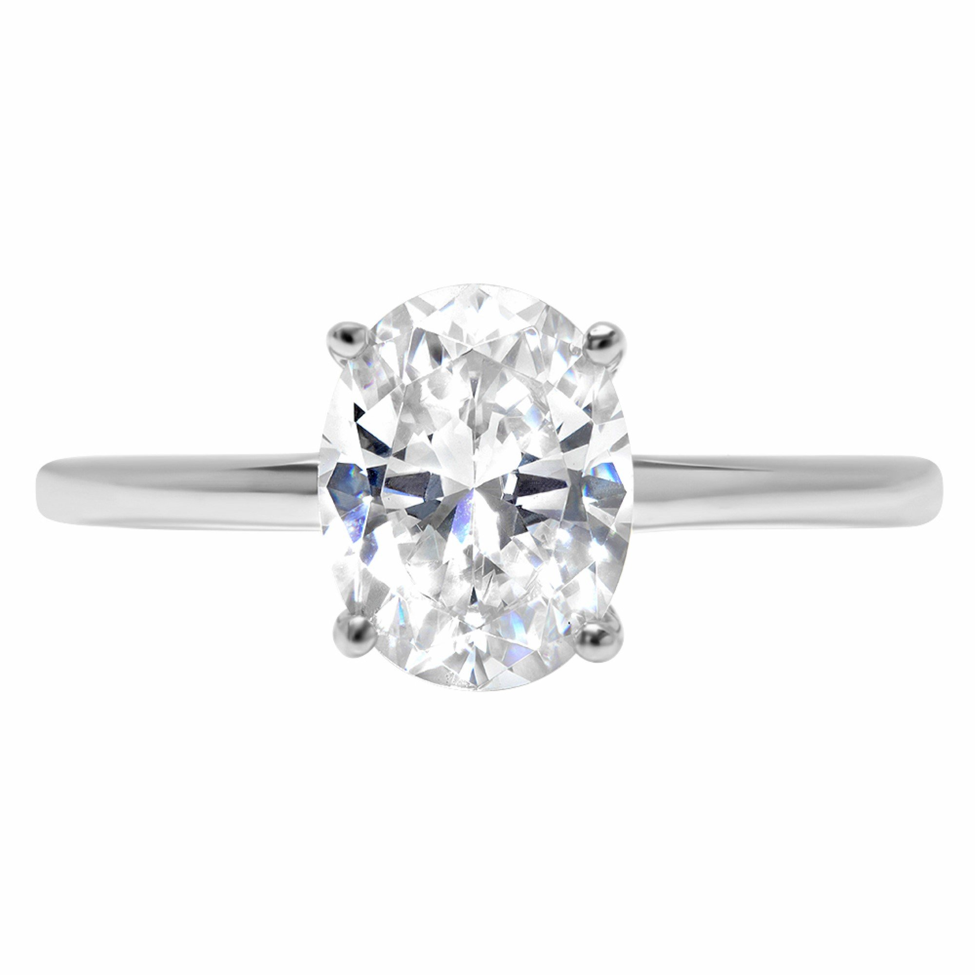 2.5ct Brilliant Oval Cut Solitaire Highest Quality Moissanite Ideal VVS1 D 4-Prong Engagement Wedding Bridal Promise Anniversary Ring in Solid Real 14k White Gold for Women