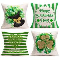 Gulidi St Patricks Day Pillow Covers Set of 4 for Home Decor Shamrock Striped and Kiss Me I'm Irish Lucky Quotes Cotton Linen Throw Pillows Cushion Cases St Patricks Day Decorations 16x16 Inch