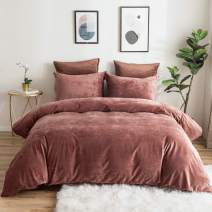 """PHF Heavyweight Velvet Duvet Cover Set with Button Closure, 4 Corner Ties, Soft, Warm, Solid and Luxurious Bedding, 3 Pieces, King (106"""" x 92""""), Burgundy"""