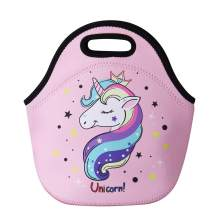 Cute Unicorn Lunch Bag for Kids, Waterproof Insulated Neoprene Lunch Tote with Zipper for School Work Outdoor (Pink)