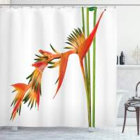 """Ambesonne Floral Shower Curtain, Exotic Tropical Flowers on Branch Colorful Nature Jungle Garden Theme Image Print, Cloth Fabric Bathroom Decor Set with Hooks, 70"""" Long, Orange Green"""