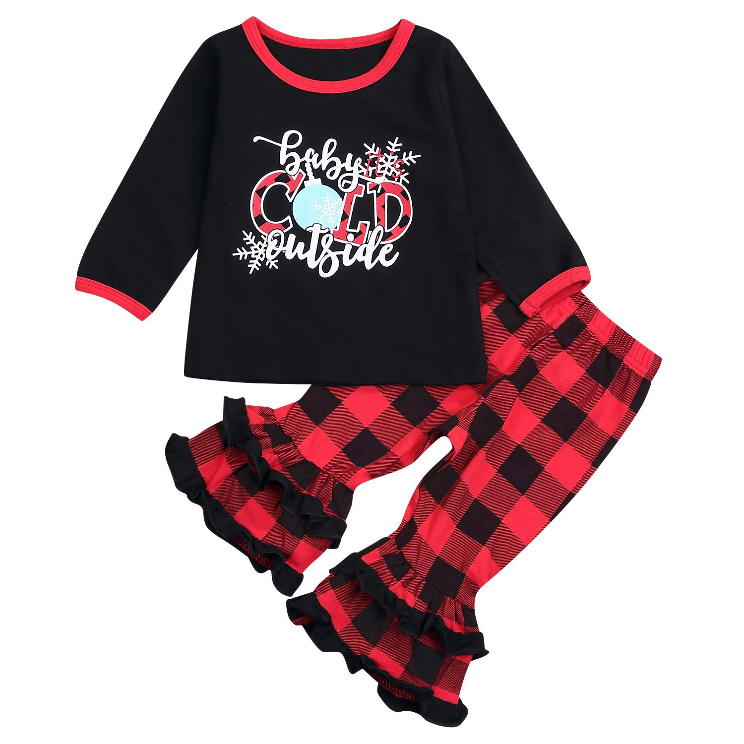 Toddler Baby Little Girls Outfits Bell Sleeve Shirt Plaid Long Pants Set Fall/Winter 3Pcs Clothes