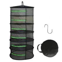 HYDGOOHO Drying Rack Net Dryer 6 Layer 2ft Black W/Green Zippers Hydroponics,Bonus Hook