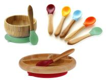 Avanchy Mix & Match Organic - Bamboo Baby Gift Set. Bamboo Baby Bowl + Bamboo Baby Divided Plate + 5 Assorted Spoons Set. Great for Baby Boy, Baby Girl, Unisex (Green Bowl/Magenta Plate)