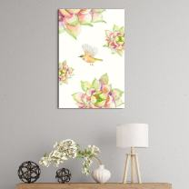 """wall26 Canvas Wall Art Succulent Plants Series - Watercolor Succulents Plants with a Bird on White Background - Giclee Print Gallery Wrap Modern Home Decor Ready to Hang - 24"""" x 36"""""""