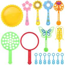 Satkago Bubble Wands Set, 15pcs Funny Bubbles Makers Toy Wand with Tray Bulk for Kids Adults Outdoor Playtime Birthday Party Backyard Games Party Favors