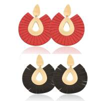 LIANKONG 2 Pairs Black and Red Leather Tassel Earrings for Women Party Statement Earrings