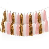 LEWOTE Tissue Paper Tassel Garland - 20pcs Tassels Per Package - 12 Inch Long Tassels(Gold/Pink/White(2Pack))