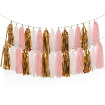 LEWOTE Tissue Paper Tassel Garland - 20pcs Tassels Per Package - 12 Inch Long Tassels(Gold/Pink/White(2Pack))