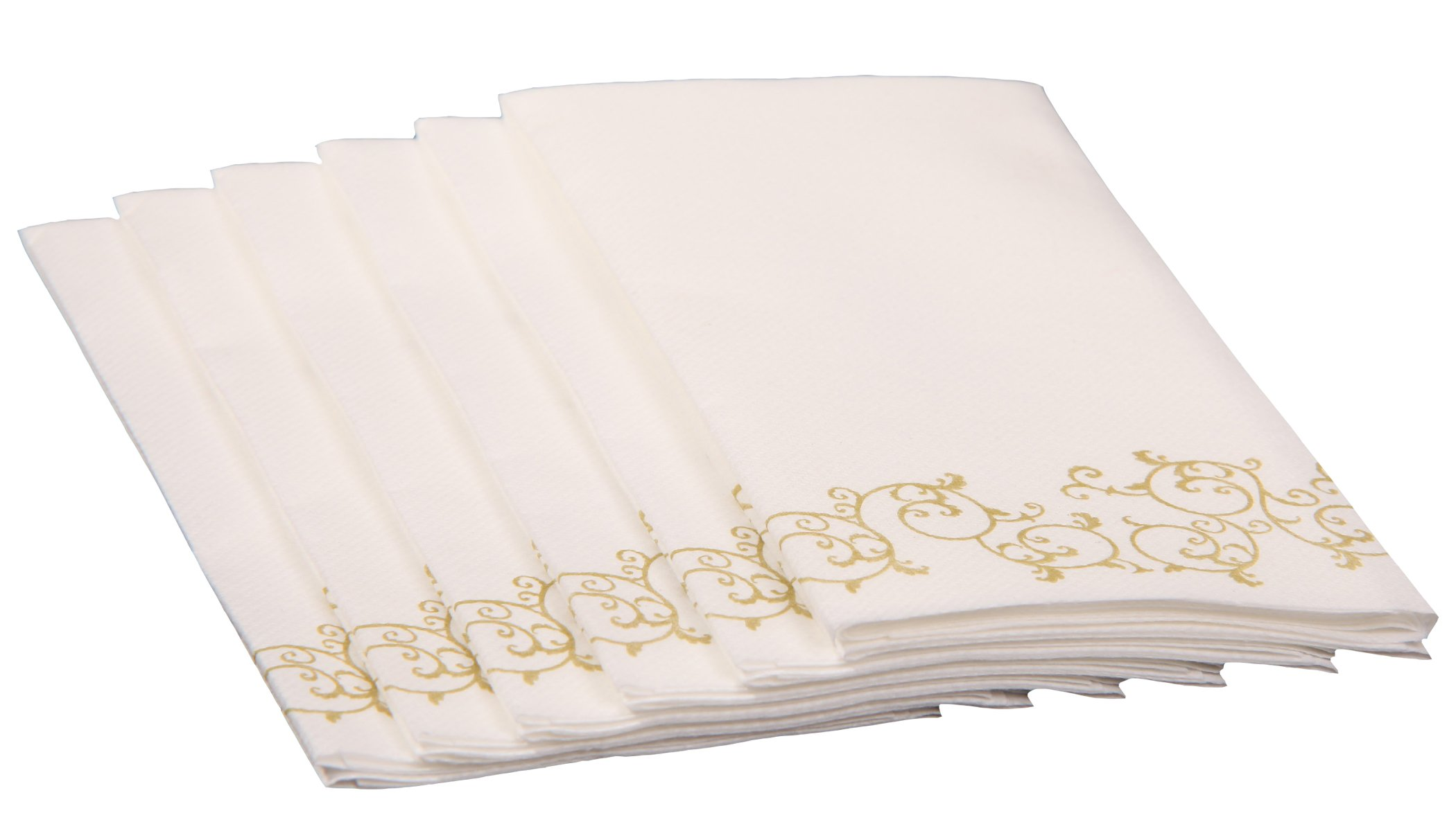 Simulinen Guest Towels for Bathroom - Gold Floral - Disposable Paper Towels - Box of 100 - Perfect Size: 12x17 inches Unfolded & 8.5x4 inches Folded