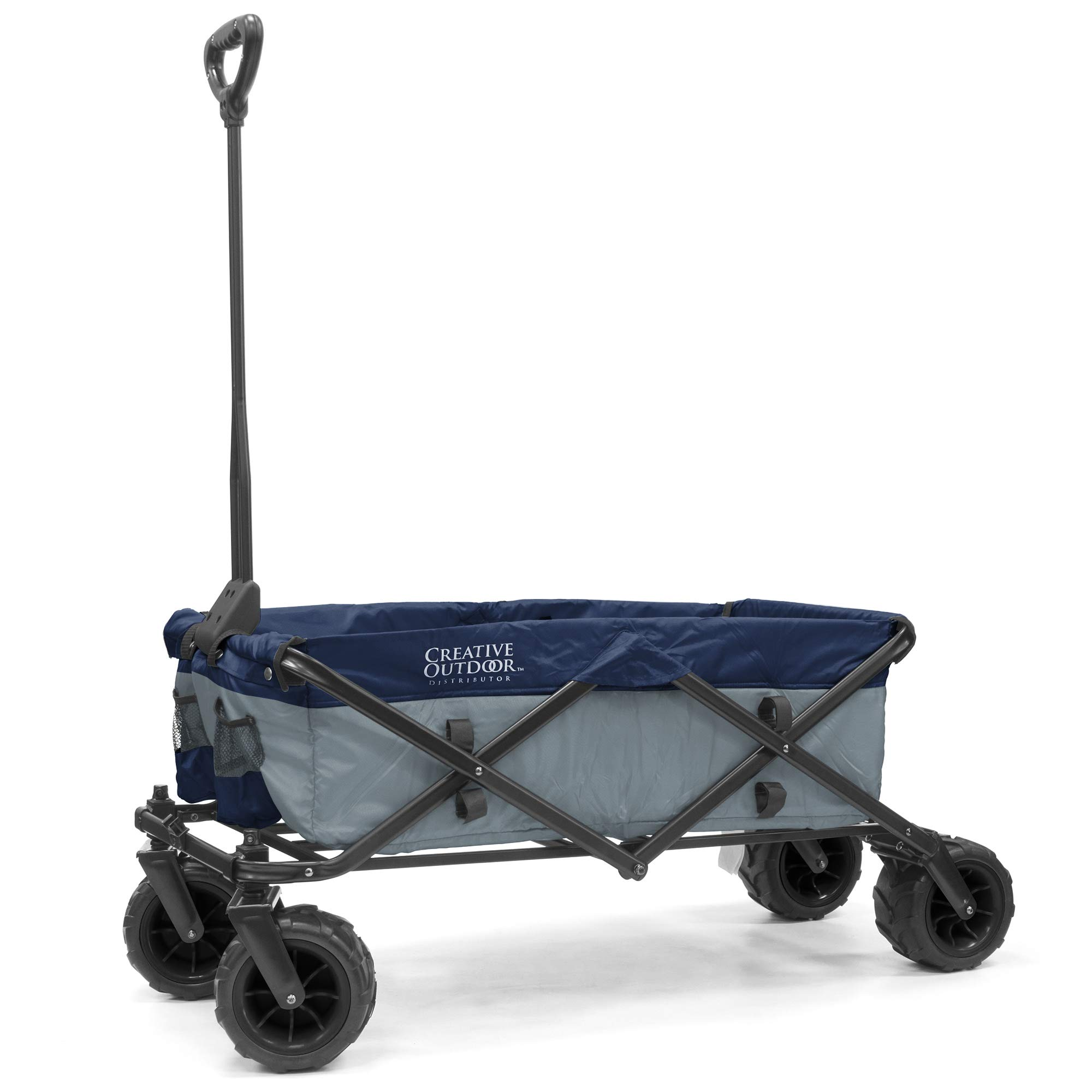Creative Outdoor Collapsible Folding Wagon Cart for Kids and Pets | All Terrain | Beach Park Garden Sports & Camping (Gray/Navy)