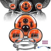 """Orange Motorcycle 7"""" LED Headlight for Motor Road King, Road Glide, Street Glide and Electra Glide,Ultra Limited with 4.5 Inch LED Passing Lamps Fog Lights+Bracket Mounting Ring Set …"""