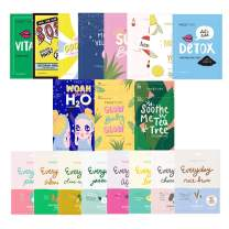 FaceTory Full Sheet Mask Collection (19 pcs) For All Skin Types   Hydrating, Soothing, Moisturizing, Brightening Sheet Masks