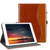 New 6th Generation iPad Case Leather Smart 5th Generation iPad Case Folio Cover Anti-Slip Stripe Card Holder Pocket Smart Auto Wake and Sleep for New iPad 9.7 inch 6th/5th Generation Elegant Brown