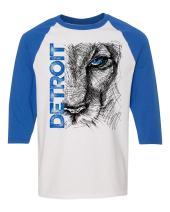 Lion Eye Detroit Heavy Cotton Three-Quarter Raglan Sleeve Baseball T-Shirt, Detroit T-Shirts LLC