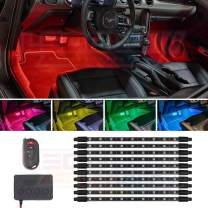LEDGlow 10pc Million Color Multi-Color LED Interior Footwell Underdash Lighting Kit for Cars & Trucks - 18 Solid Colors - 10 Unique Patterns - Music Mode - Includes Control Box & Remote - Universal