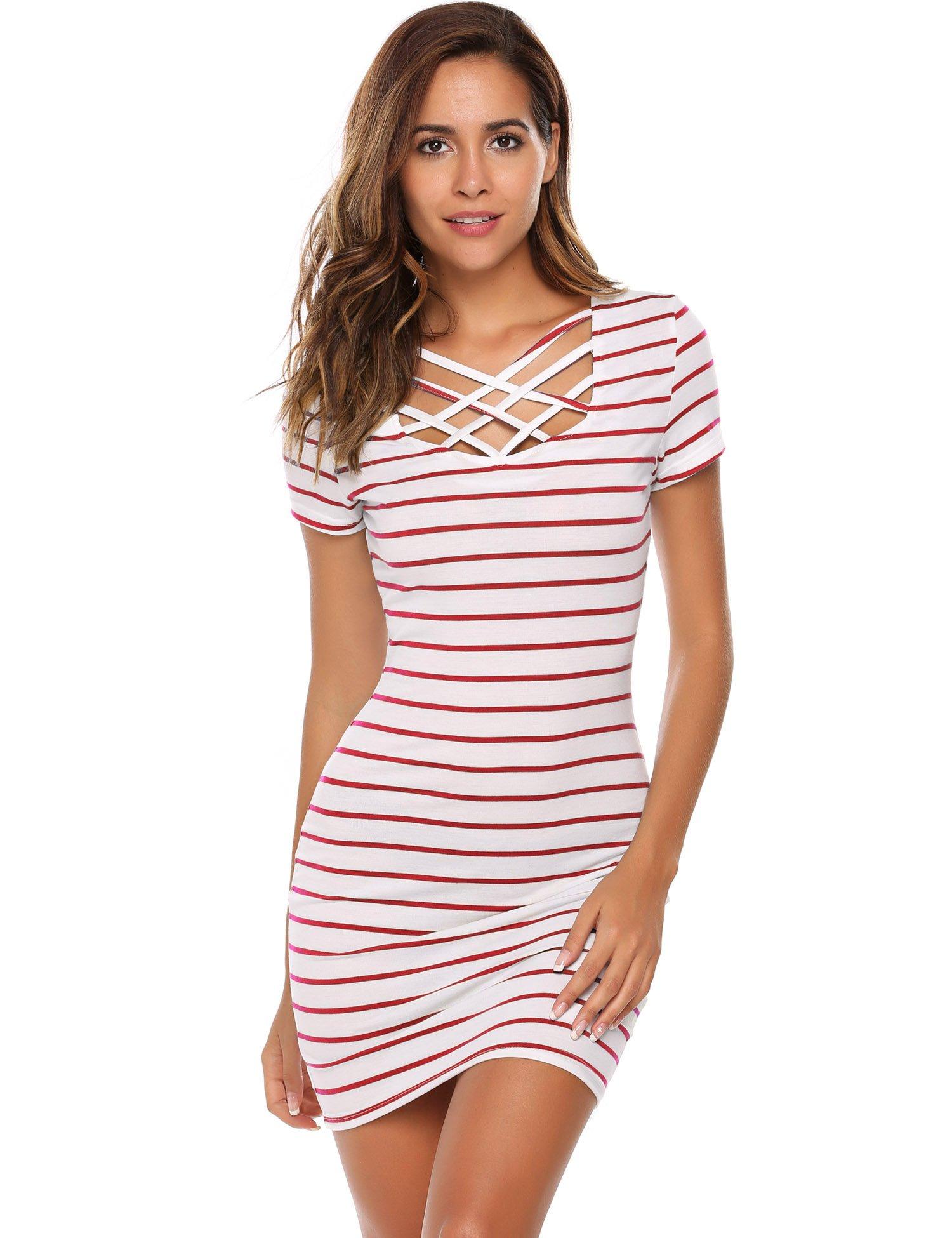Zeagoo Women's V Neck Criss Cross Short Sleeve Striped Bodycon Mini Dress