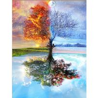 DIY 5D Diamond Painting by Number Kit Full Diamond Crystal Cross Embroidery Art Crafts Decoration for Family Wall The Tree with Four Seasons 11.8 x 15.8 in