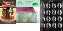 """Cybrtrayd Mdk50PKBk-D003""""Cameo Moms"""" Chocolate Candy Mold with Bundle of 50 Cello Bags, 50 Pink Twist Ties and Chocolatier's Guide, Small"""