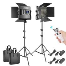 Neewer 2 Packs Advanced 2.4G 660 LED Video Light Photography Lighting Kit, Dimmable Bi-Color LED Panel with LCD Screen, 2.4G Wireless Remote and Light Stand for Portrait Product Photography
