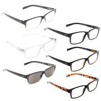 READING GLASSES 6 Pack Spring Hinge Comfort Readers Plastic Includes Sun Readers