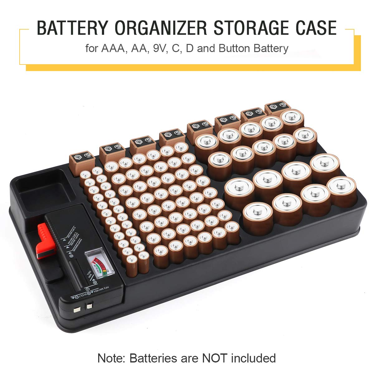 Battery Organizer Storage Case with Removable Battery Tester 110 Batteries Slot for AAA, AA, 9V, C, D and Button Battery by Makerfire