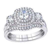 SHELOVES Wedding Rings for Women Engagement Set Cubic Zirconia Cz Sterling Silver Promise Size 5-10