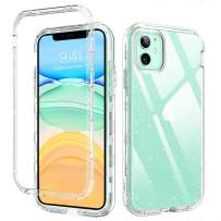 """DUEDUE iPhone 11 Case Clear, Glitter Shockproof 3 in 1 Heavy Duty Hybrid Hard PC Transparent TPU Bumper Full Protective Case for iPhone 11 6.1""""(2019) for Women/Girls,Clear"""