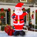 SEASONBLOW 4 Ft LED Light Up Inflatable Christmas Santa Claus with Candy Decoration for Yard Lawn Garden Home Party Indoor Outdoor