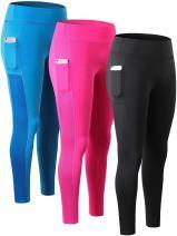 Yuerlian Women's Tights Sport Pant Gym Running Yoga Legging with Side Pocket 3 Pack