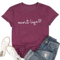 Aunt Life T Shirt Auntie Shirts Women Cute Heart Aunt Vibes Shirt Casual Short Sleeve Aunt Gift Shirts Tops