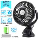 Clip on Stroller Fan, Portable Desk Fan Battery Operated with Automatic Rotation, Stepless Speed Control Quiet Personal Fan, Max 50H, USB or 5000mAh Battery Powered Clip Fan, for Stroller Camping Office Home