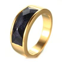 LAMUCH Jewelry Men's Stainless Steel Rings Band with Blue Galaxy Stone