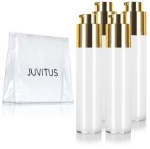 Airless Twist Top White Gold Pump Bottle - 50 ml / 1.7 oz (4 Pack) + Clear Travel Bag Keeps Out Bacteria and air Changing Oxidation from Your Products - Durable and Leak Proof for Home or Travel