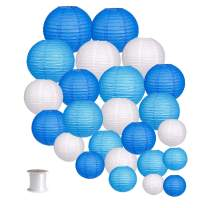 24pcs Round Paper Lanterns for Wedding Birthday Party Baby Showers Decoration Blue/White