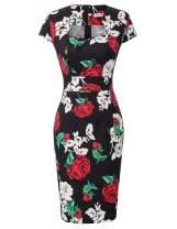 GRACE KARIN Vintage Floral Cocktail Dress Cap Sleeve Retro Vintage Pencil Dress