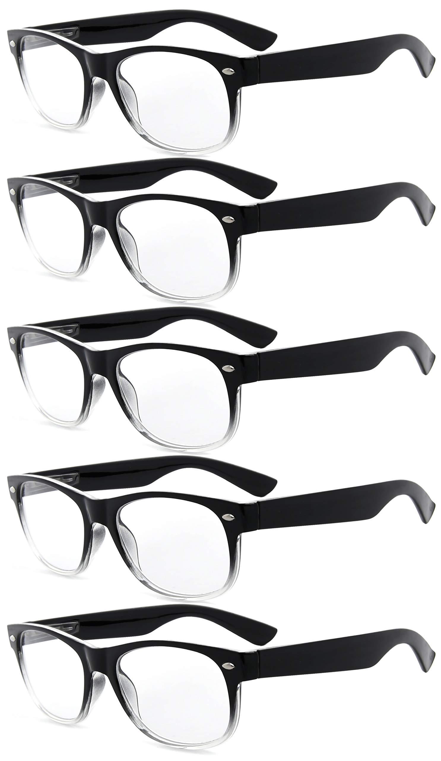 Eyekepper Classic 80's Reading Glasses-5 Pairs Black-Clear Frame Glasses for Women Reading,+1.00 Reader Eyeglasses