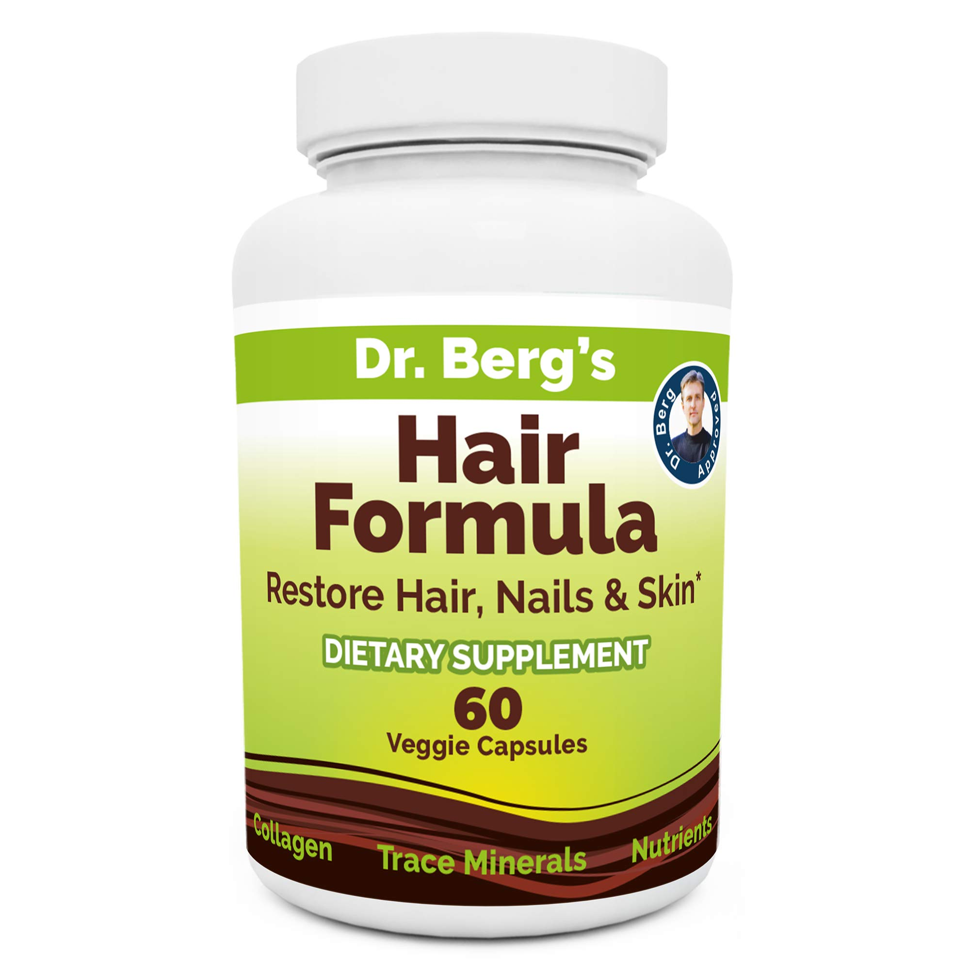 Dr. Berg's Hair Formula Supplement Due to Normal Aging Supports Healthy Nails & Skin - DHT Blocker with Biotin, Collagen Type I&II, Trace Minerals, Whole Food Vitamin C and Bs for Women and Men