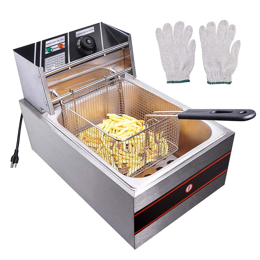 Yescom 2500W 6L Commercial Electric Countertop Stainless Steel Deep Fryer Basket French Fry Home Kitchen Restaurant