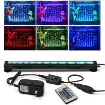 SZMiNiLED Aquarium Light with Air Bubble Hole, 5050 RGB LED Fish Tank Light with 16 Colors and 4 Modes, IP68 Waterproof LED Aquarium Lights with Remote Controller for Fish Tank.