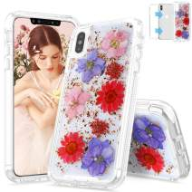 """SEYMAC iPhone Xs Max Case, Real Dried Flower Dual Layer Protection Rugged Bumper Girls Women Case for iPhone Xs Max 6.5"""" (Red)"""