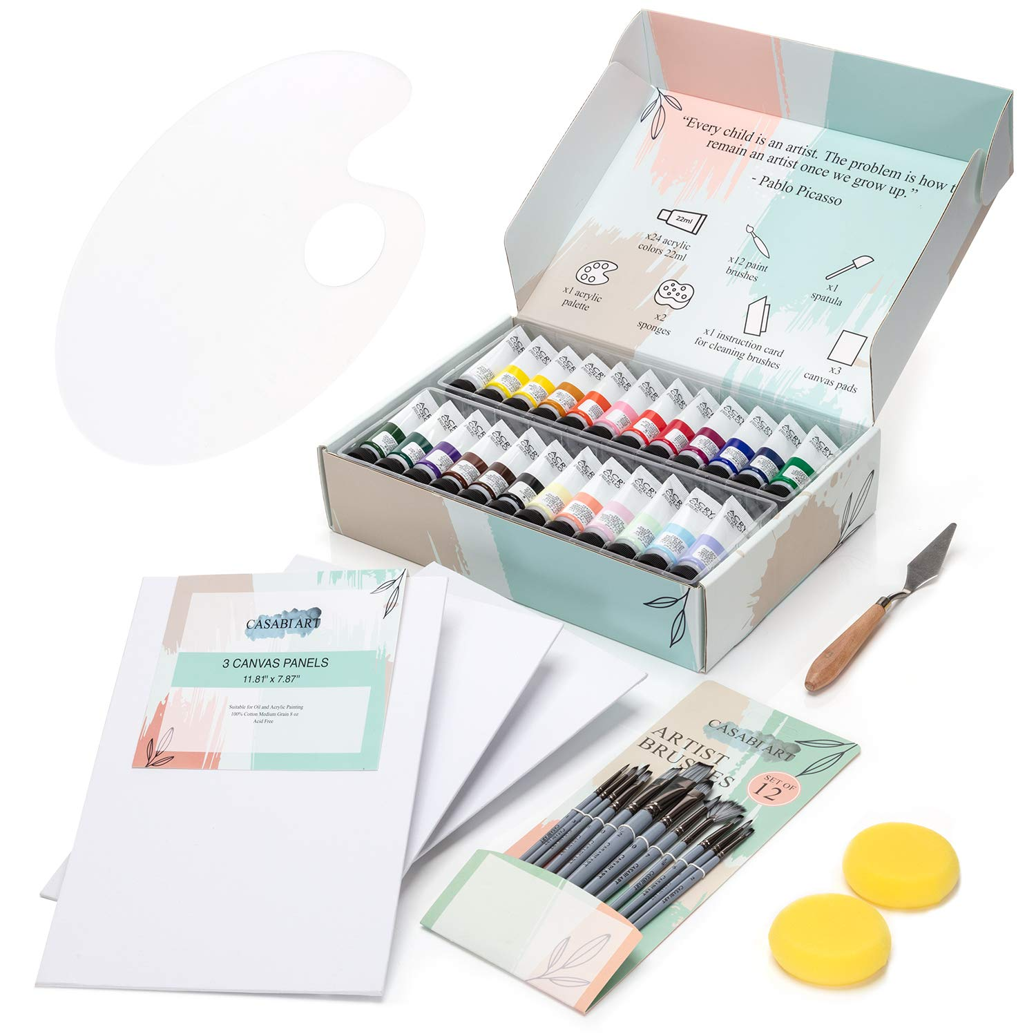 Acrylic Paint Set for The Artist in You: 24 Acrylic Paints (22ml), 12 Paint Brushes, 3 Canvas Pads, 1 Acrylic Palette, 2 Sponges, 1 Painting Knive - Professional Painting Supplies Set - Gift Design