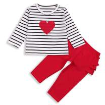Baby Girl Valentine's Day Outfit Love Long Sleeve T-Shirt Striped Top+Red Pleated Pants Winter Clothes