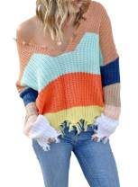 Dearlove Womens Casual Striped Distressed Sweater Loose V Neck Ripped Knit Pullover Tops