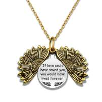HN HNHB Pet Memorial Gifts Loss of Dog Cat I'm Right Here-Inside Your Heart Sunflower Pendant Necklace Loss of Cat Gifts Sympathy Gift