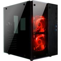 Rosewill CULLINAN PX Tempered Glass Full Window Desktop PC Computer Small Form Case, Red LED Lighting Fans, USB 3.0, 240mm Water Cooler Support, 3 Fans Pre-Installed